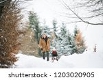 grandfather and small girl...   Shutterstock . vector #1203020905
