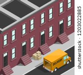 isometric 3d city delivery van. ... | Shutterstock .eps vector #1203022885