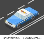 flat 3d isometric police car... | Shutterstock .eps vector #1203023968