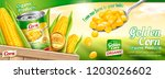 organic canned corn banner ads... | Shutterstock .eps vector #1203026602