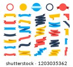 flat vector ribbons banners... | Shutterstock .eps vector #1203035362