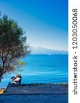 mytilene island and aegean sea. ... | Shutterstock . vector #1203050068