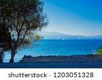 mytilene island and aegean sea. ... | Shutterstock . vector #1203051328
