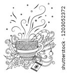 cup with hot chocolate. adult... | Shutterstock . vector #1203052372