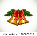 christmas bell with red bow ... | Shutterstock . vector #1203062818