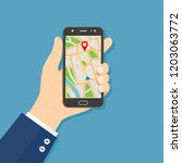 gps navigation flat design... | Shutterstock .eps vector #1203063772