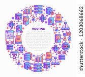 hosting concept in circle with... | Shutterstock .eps vector #1203068662