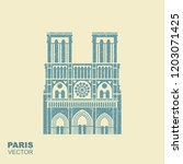 notre dame de paris cathedral ... | Shutterstock .eps vector #1203071425