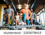 group of young people doing... | Shutterstock . vector #1203078415