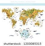 flat world flora and fauna map... | Shutterstock .eps vector #1203085315
