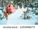 winter portrait of happy kid... | Shutterstock . vector #1203088075