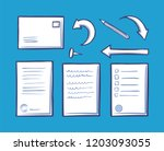 office document and pin for... | Shutterstock .eps vector #1203093055