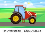 tractor driving on green field... | Shutterstock .eps vector #1203093685