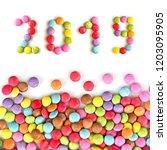 2019 colorful candies  isolated ... | Shutterstock . vector #1203095905