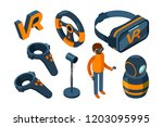 virtual reality 3d. vr game... | Shutterstock .eps vector #1203095995