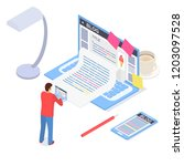 creative blog post concept 3d... | Shutterstock .eps vector #1203097528