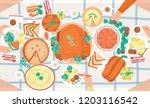 thanksgiving festive dinner.... | Shutterstock .eps vector #1203116542
