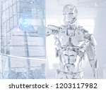 robot cyborg android touching...