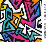 rainbow geometric seamless... | Shutterstock . vector #1203118615
