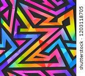 rainbow geometric seamless...   Shutterstock . vector #1203118705