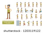 vector young adult hipster man... | Shutterstock .eps vector #1203119122