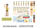 vector young adult hipster man... | Shutterstock .eps vector #1203119128