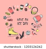 hand drawn set with ice skating ... | Shutterstock .eps vector #1203126262