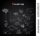 dinosaurus set collection with... | Shutterstock .eps vector #1203128215