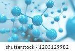 blue molecule or atom  abstract ...   Shutterstock . vector #1203129982