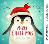 christmas cute little penguin... | Shutterstock .eps vector #1203130408
