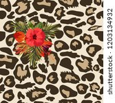 seamless pattern with leopard... | Shutterstock .eps vector #1203134932