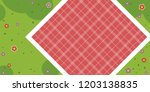 red empty picnic tablecloth in... | Shutterstock .eps vector #1203138835