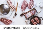 raw pork meat. assortment of... | Shutterstock . vector #1203148312