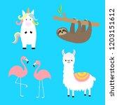alpaca  llama  flamingo  sloth  ... | Shutterstock .eps vector #1203151612