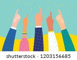 people show forefinger up.... | Shutterstock .eps vector #1203156685