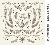 winter floral hand drawn...   Shutterstock .eps vector #1203157558