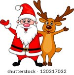 Santa And Deer Cartoon Waving...