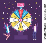 fortune wheel with people. man... | Shutterstock .eps vector #1203182485