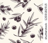 olive branches seamless pattern.... | Shutterstock .eps vector #1203182515