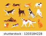 Stock vector bundle of cute dogs of various breeds playing running walking sitting pooping set of adorable 1203184228