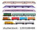 trains set. passenger and... | Shutterstock .eps vector #1203188488