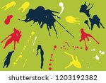 hand drawn set of colorful ink...   Shutterstock .eps vector #1203192382