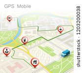 city map navigation route ... | Shutterstock .eps vector #1203200038