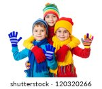 group of three kids in bright... | Shutterstock . vector #120320266