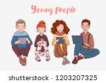 young people using digital... | Shutterstock .eps vector #1203207325