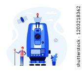 concept surveyors  geodesists... | Shutterstock .eps vector #1203218362