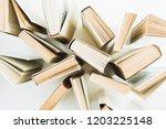 books on white background. flat ... | Shutterstock . vector #1203225148