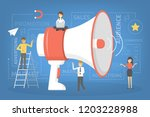 little people standing around a ... | Shutterstock .eps vector #1203228988