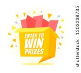 enter to win prizes gift box.... | Shutterstock .eps vector #1203238735