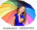stay positive fall season. girl ... | Shutterstock . vector #1203247552